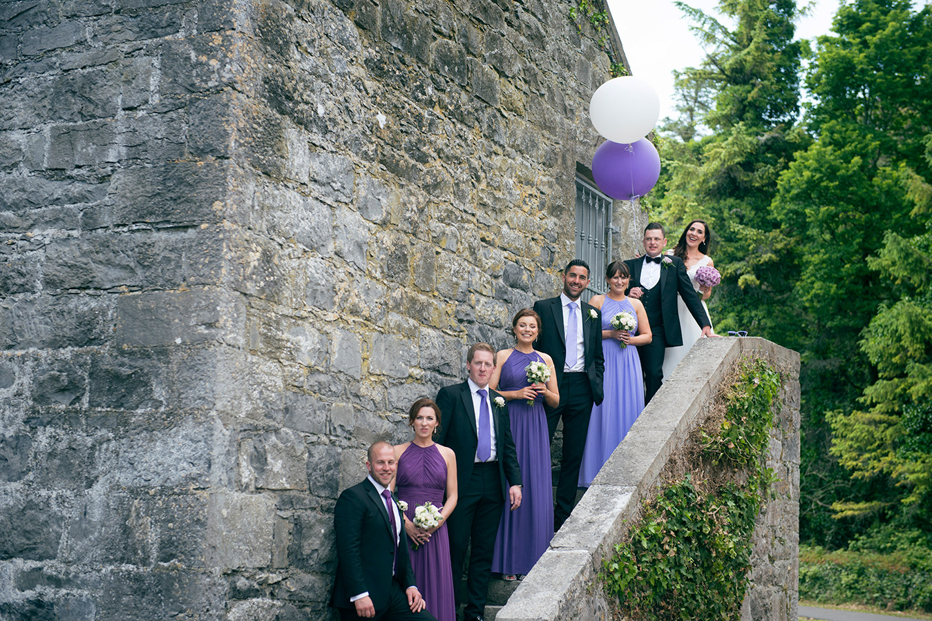 bridal party bridesmaids in purple dresses galway wedding
