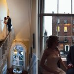 georgian staircase bride groom window silhouette photography wedding