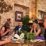 castle, durrow, wedding, guests, colourful,
