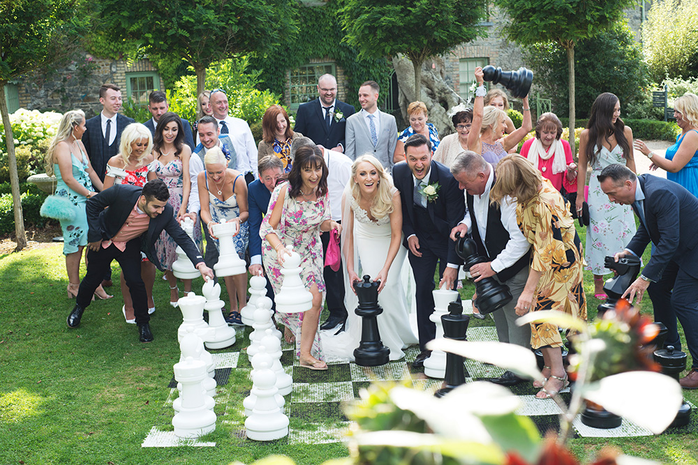 chess game at wedding at cliff at lyons wedding