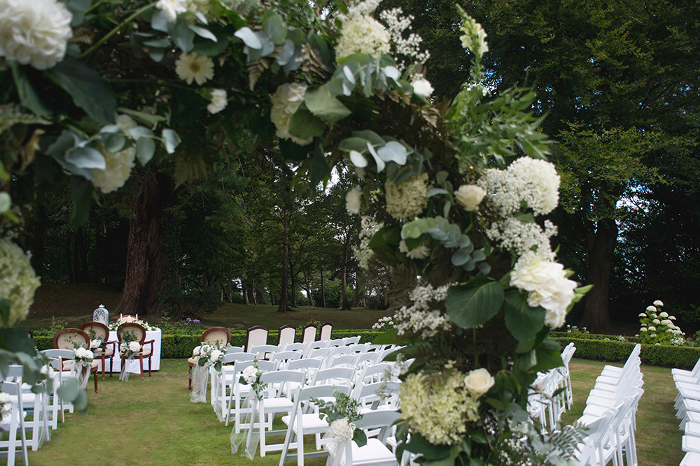 outdoor wedding ceremony tinakilly country house