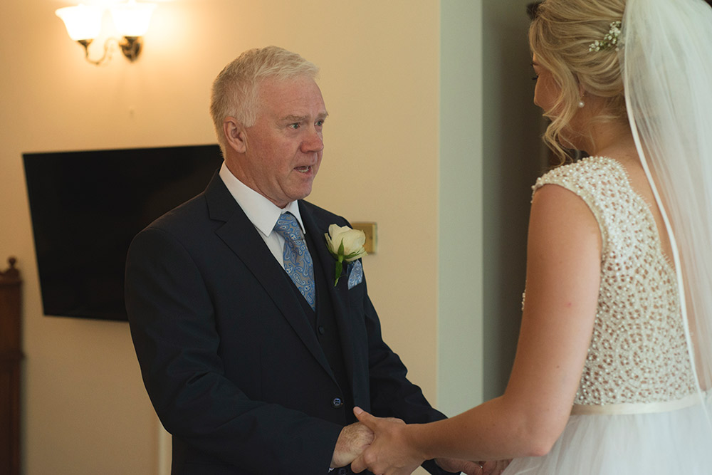 dad's first look tinakilly country house wedding