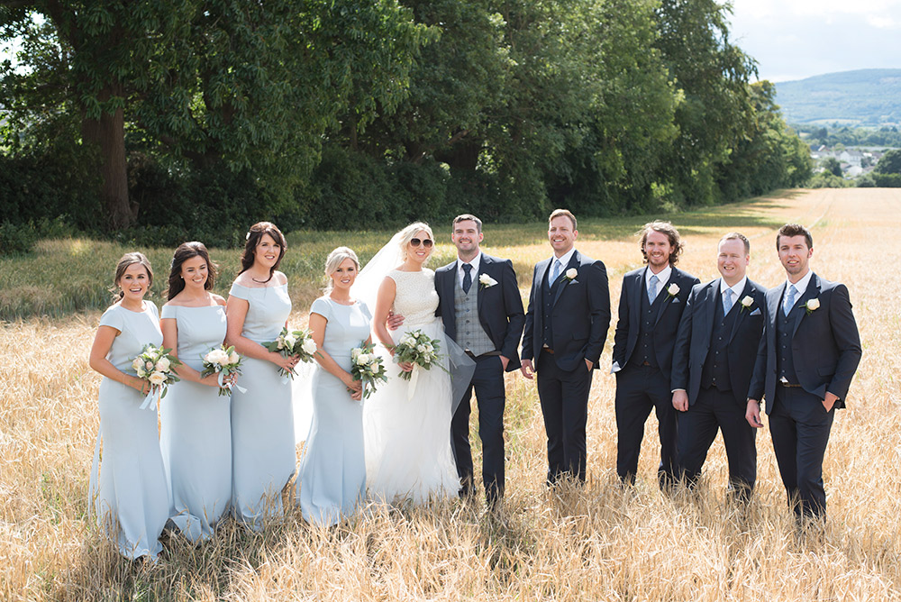 bridal party tinakilly country house hotel wedding in cornfield