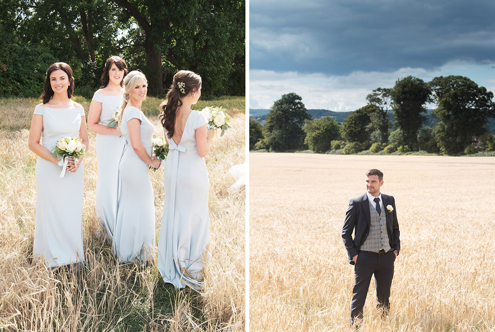 bridesmaids in cornfield at tinakilly country house hotel wedding