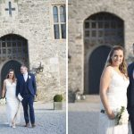 Kilkea bride and groom in front of kilkea castle, Castle Wedding Photography