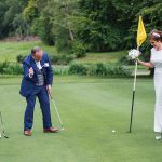 druids glen wedding bride and groom golfing fun photos