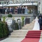 bride and groom arrive at Cabra Castle Wedding