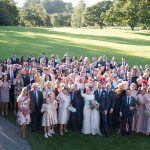 Rathsallagh House Wedding, group photo of all the wedding guests from rathsallagh window