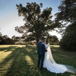 Rathsallagh House Wedding, bride and groom in the sunset under Rathsallagh Tree