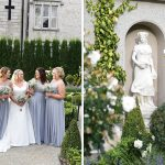 bride and bridesmaids in the gardens at Cabra Castle Wedding
