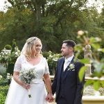 bride and groom in gardens at Cabra Castle Wedding
