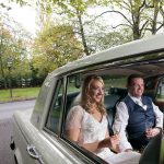 bride and groom in their wedding car at Durrow Castle Wedding