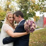 bride and groom in autumn at Durrow Castle Wedding