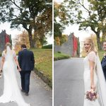 bride and groom on autumnal driveway at Durrow Castle Wedding