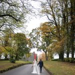 bride and groom in the driveway of Durrow Castle Wedding