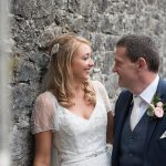 bride and groom at Durrow Castle Wedding