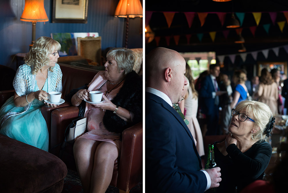 guests enjoying drinks and tea and coffee at mount druid alternative weddings in boathouse