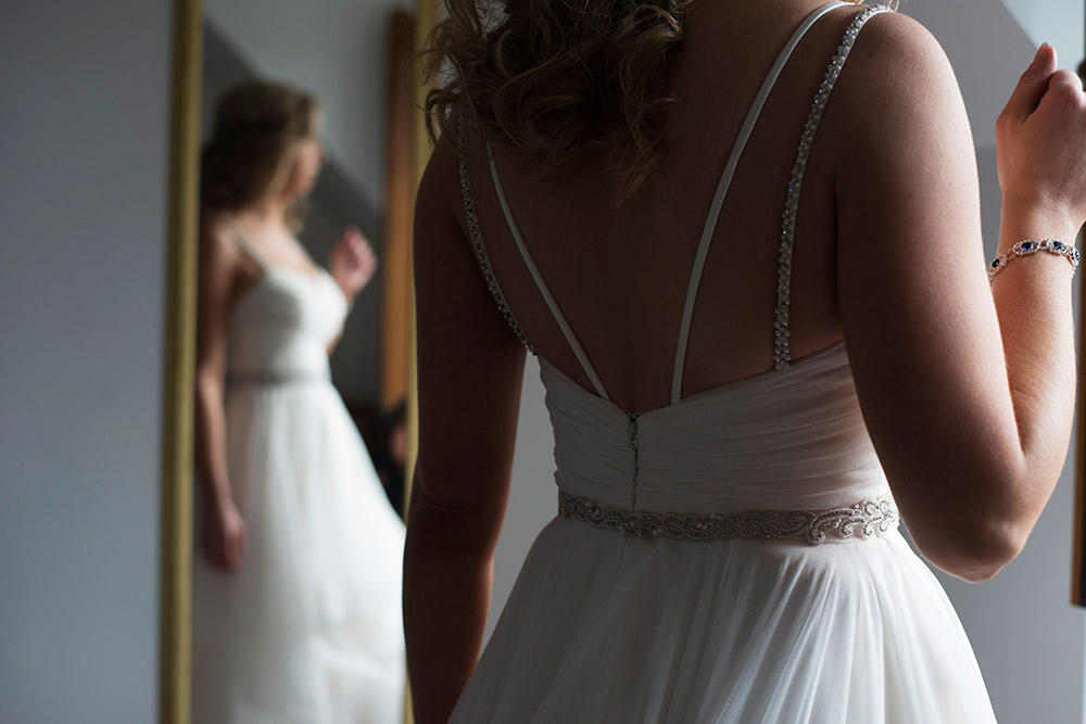 bride in mirror at kippure estate wedding