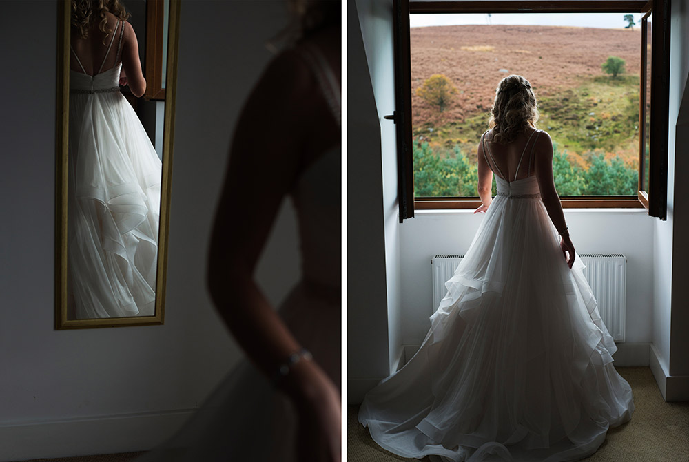 bridal portrait in window at kippure estate wedding