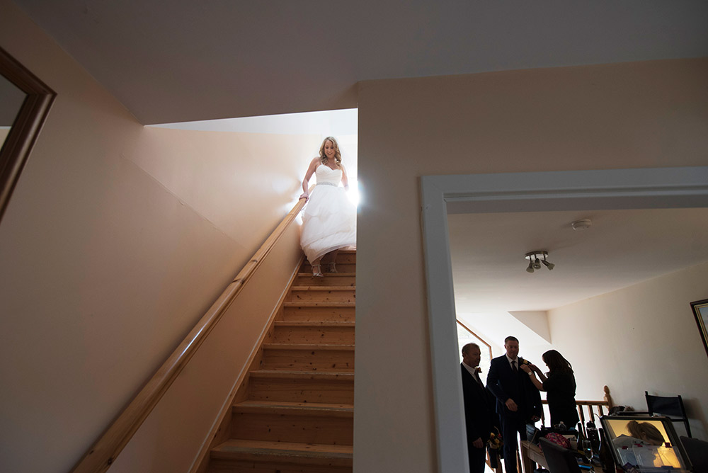 bride on stairs kippure estate wedding