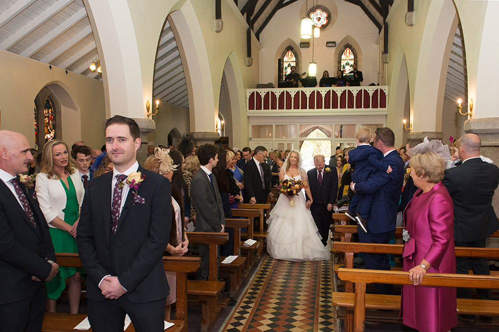 bride at st brigids church wedding