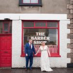 wedding couple outside shopfront dublin city centre wedding photography