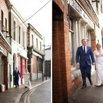 wedding couple walk down dublin streets wedding photography