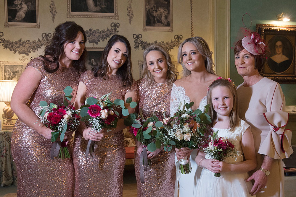 bridal party at Marlfield House wedding