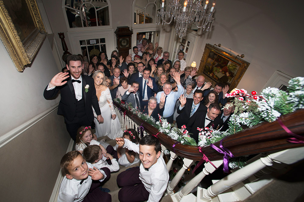 group shot at Marlfield House wedding