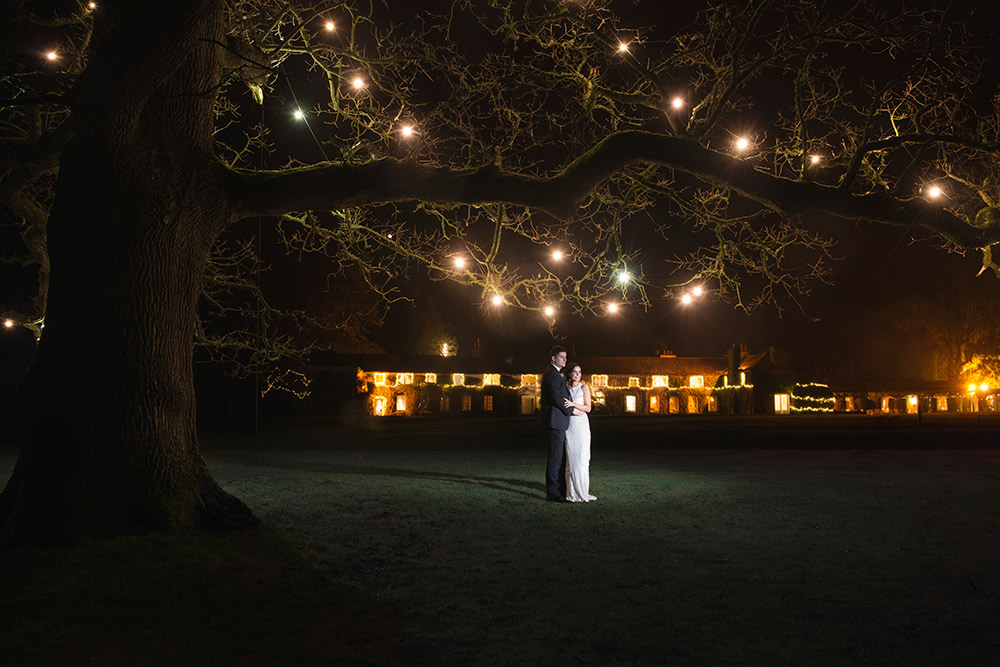 nighttime photo under the tree for wedding at rathsallagh house