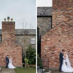 bride and groom at chimney at ballymagarvey village wedding