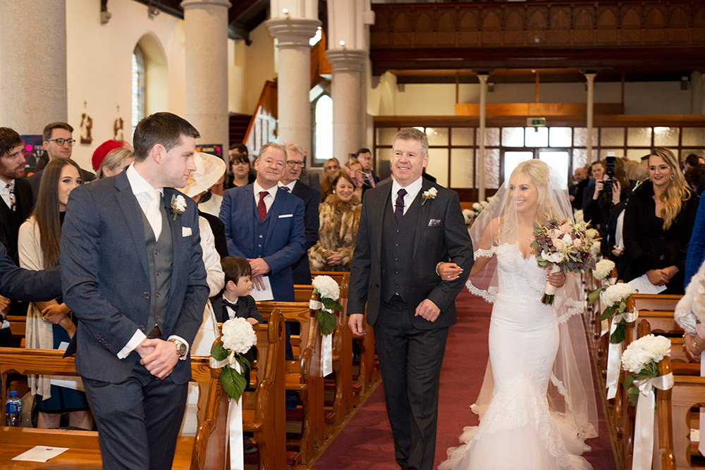 first look of groom to bride at clane church