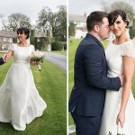 bride and groom in the garden at rathsallagh hotel
