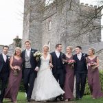bridal party walking at barberstown castle wedding