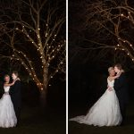 bride and groom under tree fairy lights barberstown castle