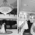 bride and groom undeer knightsbrook chandelier