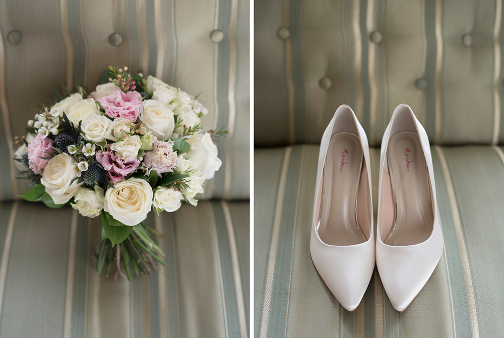 wedding bouquet and shoes barberstown castle