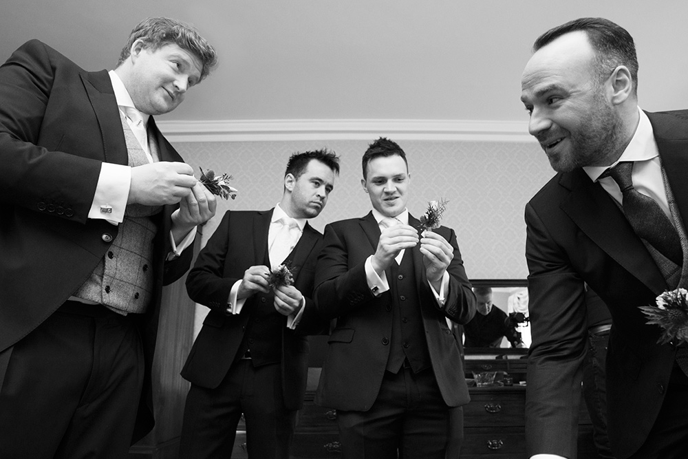 grooms getting ready at barerstown castle wedding