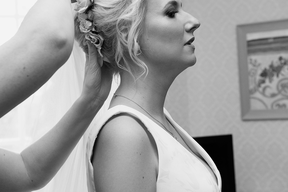 black and white bridal photos barberstown castle