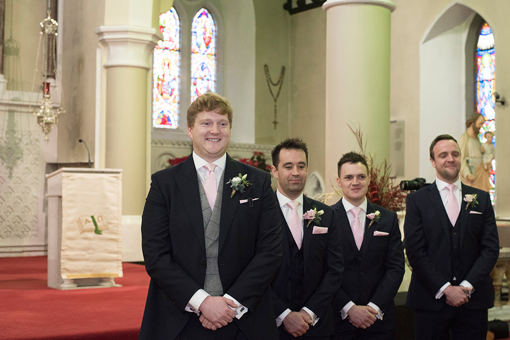groom seeing bride for first time at st patrcks church celbridge