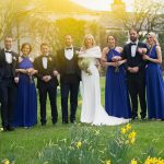 bridal party at rathsallagh house wedding with daffodils