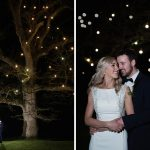 bride and groom under rathsallagh tree night time fairy lights wedding photo