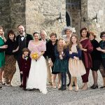 group photo of all wedding guests at kilkea elopement