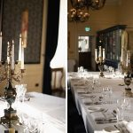 banquet table candelabra table setting at kilkea castle wedding