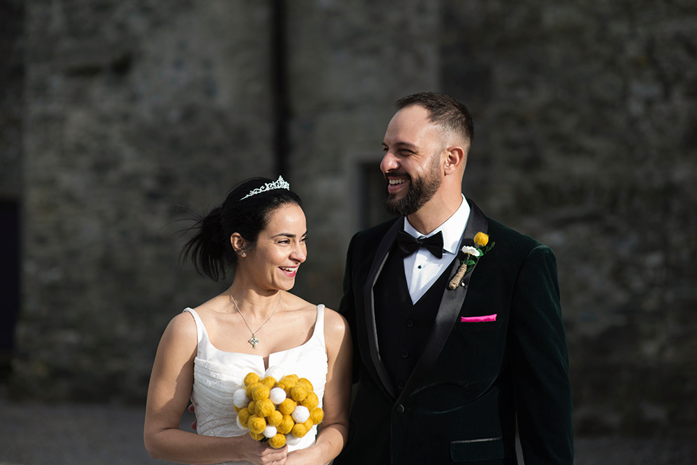 first look kilkea castle wedding