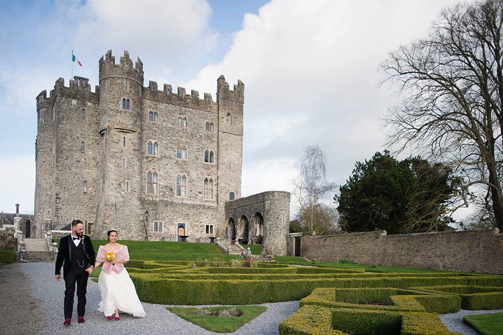 outdoor wedding ceremony kilkea castle wedding