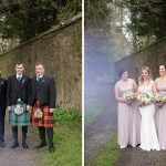 the bridal party in the gardens at rathsallagh summer wedding
