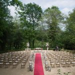 outdoor wedding ceremony at druids glen resort in forest
