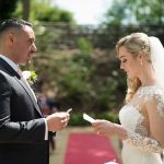 bride an groom say their vows in outdoor ceremony druids glen