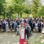 group photo of all guests at outdoor ceremony druids glen resort
